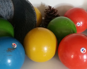 Vintage Wooden Bocce Ball Set with Vibrant, Chippy Paint - Made in Italy