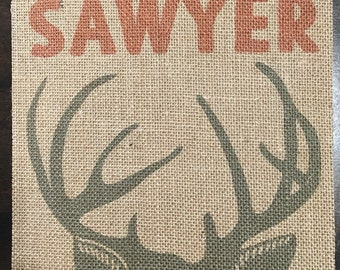 8x8 Personalized Woodland Name Burlap Fabric Print