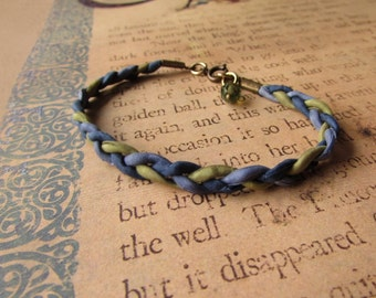 Braided silk bracelet with Czech glass charm