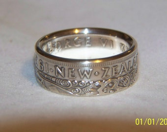 New Zealand  silver coin ring