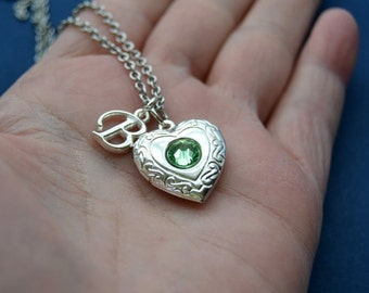 Silver Heart Locket, Birthstone Necklace, August Birthstone Locket, Initial Necklace, Locket for Girls, Photo Locket, Locket Necklace