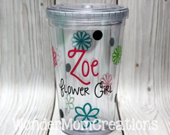 Flower Girl Tumbler; Flower Girl Personalized Cup; Flower Personalized Tumbler; Gardening Tumbler Cup; Bridal Party Tumblers Cups