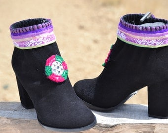 Sale............30% off........ETHNIC SUEDE BOOTS with heel