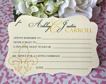 Wedding advice cards, wedding game cards, wedding wishes cards, wedding guestbook cards, fleur de lis advice cards - 20 cards(ac11)