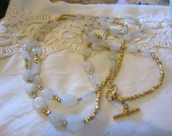 """vintage goldtone metal,milky white bead,gold beads necklace with watch clasp 55""""long in beautiful condition"""