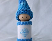 Jack Frost Peg Doll ~ Winter Peg Doll ~ Blue and White ~ Waldorf Winter Nature Table Toy ~ Embroidered Snowflake