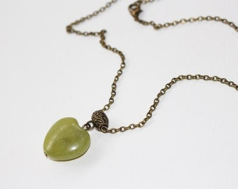 Necklace, pendant heart serpentine, bronze metal chain, calm and serenity