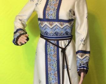 1970s Cream & Blue Long-Sleeved Dress, XS