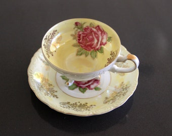 Royal Halsey Very Fine English China Teacup, Pink Roses, Gold Detail English Teacup, Fine English China Footed Pedestal Lusterware Teacup