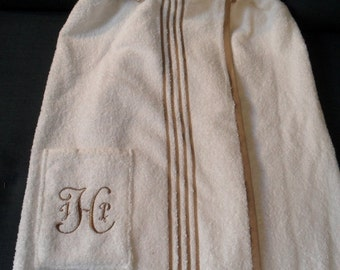 personalized towel wraps with straps.