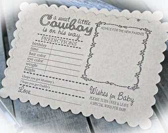 Western Baby Shower- Cowboy Prediction cards -Cowboy Baby Shower- Boy Baby Shower Idea- Cowboy baby shower game-Choice of cardstock colors
