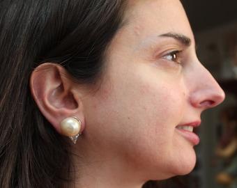 Pearl Stud Earrings/Faux Diamond and Pearl Stud Earrings/Vintage Faux Pearl Earrings