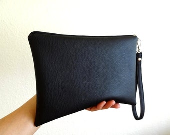 Faux Leather iPad mini Zipper Wristlet, Zipper Pouch, Bridesmaid Gift, Wristlet Clutch, Cosmetic, Makeup Bag - 5x4 Selections, Black