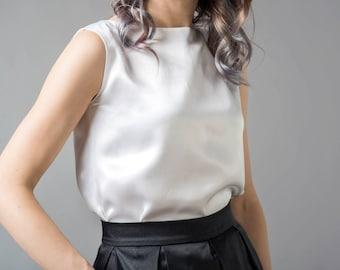 Clarity - silk blouse / custom color blouse / bridal blouse / wedding silk blouse / natural silk top