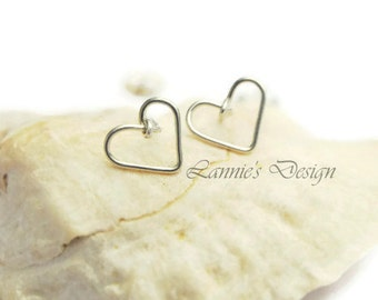 Sterling Silver Wire Heart Stud Earrings, Bridesmaids Gift