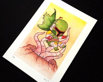 Boba Fett vs. Sarlacc Watercolor Painting Print by Michelle Coffee