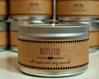 MISTLETOE Soy Candle. Natural Candle. Scented Candle. Eco Friendly. Vegan Friendly. Gift for Him. Gift for Her.