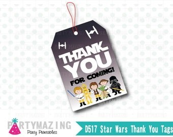 Star Wars Tags, Printable Thank You Tags,  Star Wars favor tags, Birthday Party, Darth Vader, Star wars party , Instant Download -D517 HBSW1