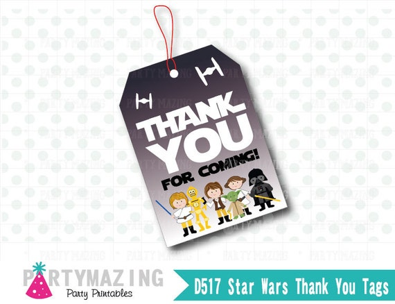 Star Wars Tags, Printable Tags, Hang Tags, Thank You for coming D517