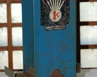 Vintage Hawkeye One Cent Coin Op Vending Machine
