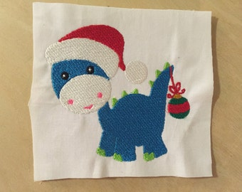 Christmas Dino Download Digital Embroidery File Design 4X4