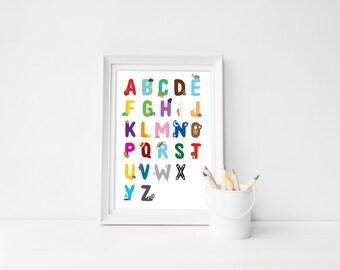 Illustrated Alphabet Print