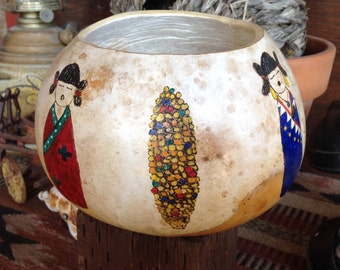 Corn maiden gourd bowl // painted gourd // decorative gourd // southwestern bowl