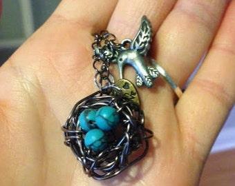 Bird's Nest Charm Necklace