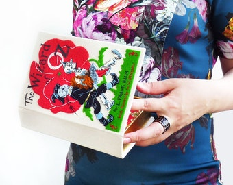 Hand embroidered book clutch - The Wizard of Oz by L.Frank Baum. With pictures by W.W.Denslow. Women's handmade handbag with felt design.