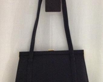 Vintage Halston Purse, Black Shoulder Bag, 80s Designer Handbag, NOS Purse, NWT Gifts For Her