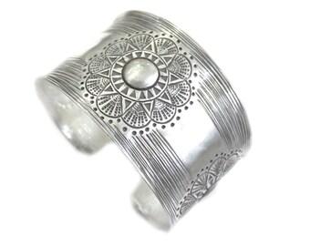 Handmade Sterling Silver wide Cuff Bracelet,Sun/ Flowers Ethnic Bracelet Cuff, Solar Tribal/ Hippie Boho Statement Cuff Bracelet