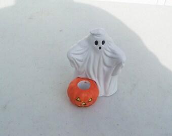 Vintage retro Halloween china ghost pumpkin JOL jack o' lantern LVC 1989 candle holder candleholder