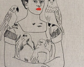 Frida and her perrots  -Tribute embroidery