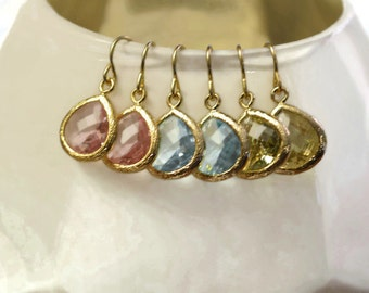Pink, Lemon Yellow, and Aqua Blue Glass Gem Drop Earrings - Earring Set - Set of 3