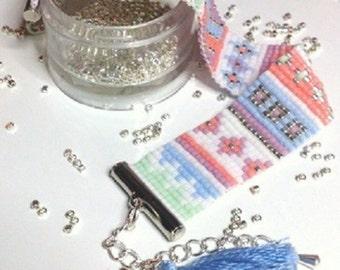 Delicas Miyuki white, pink, blue beads woven bracelet
