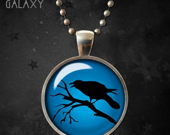 Black Crow Necklace, Black Bird Pendant, Black Silhouette with Blue Background