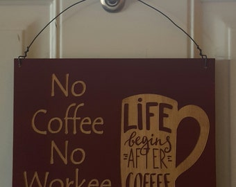 Sign, Coffee sign, No Coffee No Workee Sign