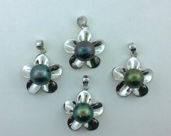 Tahitian Pearl Sterling Silver Plumeria Flower Pendant Free Shipping!