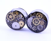 """7/8"""" 1 PAIR Double Flare 22mm Steampunk Tunnels Gauges Plugs filled with watch parts LIMITED EDITION"""