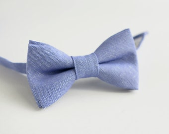 Purple Linen Boy's Bow Tie- Violet, Lilac Bowtie- Festive Boy's Outfit- Ring Bearer - Dad Son Bowties