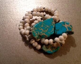 Turquoise Chunk Stretchy Bracelet-Bone Bead