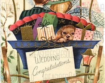 Just Married Bride & Groom Drive Off To Honeymoon Wedding Congratulations Card #531 Digital Download