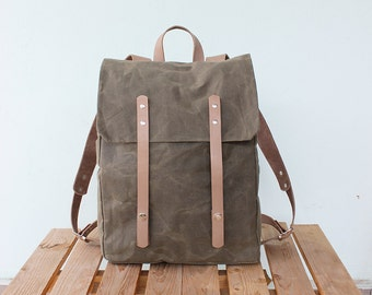 Waxed Canvas Backpack with beige leather details, Waxed Canvas Rucksack, Olive