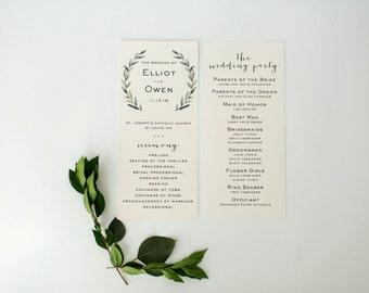 elliot wedding programs (sets of 10)  // lola louie paperie