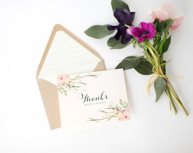 maeve wedding thank you cards // personalized thank you cards / personalized stationery / card set / watercolor floral / blush / rustic