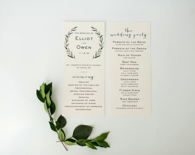 elliot wedding programs (sets of 10)  // winery olive branch watercolor rustic eucalyptus greenery modern simple calligraphy wedding program