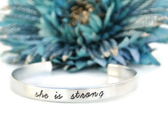 She Is Strong Hand Stamped Bracelet Cuff | Aluminum Jewelry | Motivational Bracelet Jewelry | She Is Clothed In Strength | Gift For Her