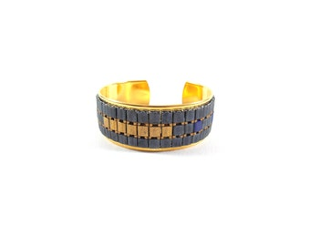 Unique piece - Cuff Bracelet YOOKU Golden brass and TILA bead weaving. Blue and gold. Unique piece
