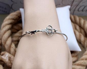 Key bangle bracelet, Sterling silver skeleton key bracelet