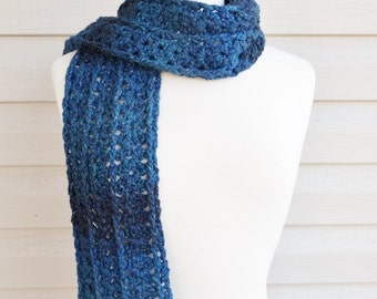 Crochet Super Long Soft Scarf in Multi Tone Blues for Fall or Winter